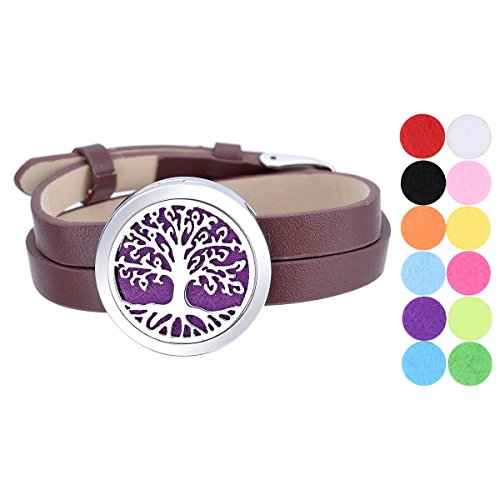 Tree of Life Aromatherapy Essential Oil Diffuser Bracelet Stainless Steel Locket Bangle Brown PU Leather Band 12 Refill - Tone Match Leather