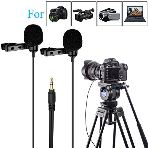 157'' BOYA BY-LM300 Dual-head Lavalier Lapel Microphone Clip-on Omni-directional Condenser Mic for Canon Nikon Sony DSLR Camera Camcorder Sony DV PC Laptop - Electret Condensor