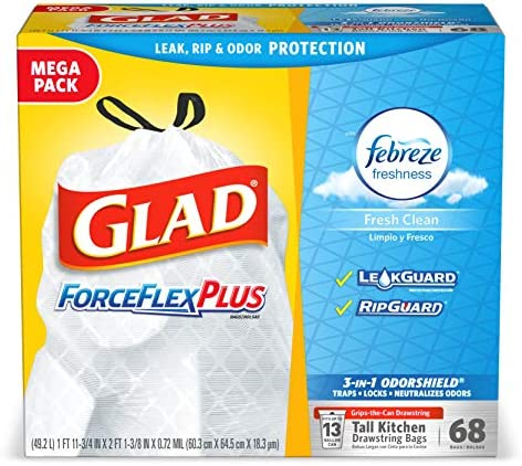 Amazon.com: 68 bolsas de basura Glad ForceFlex OdorShield ...