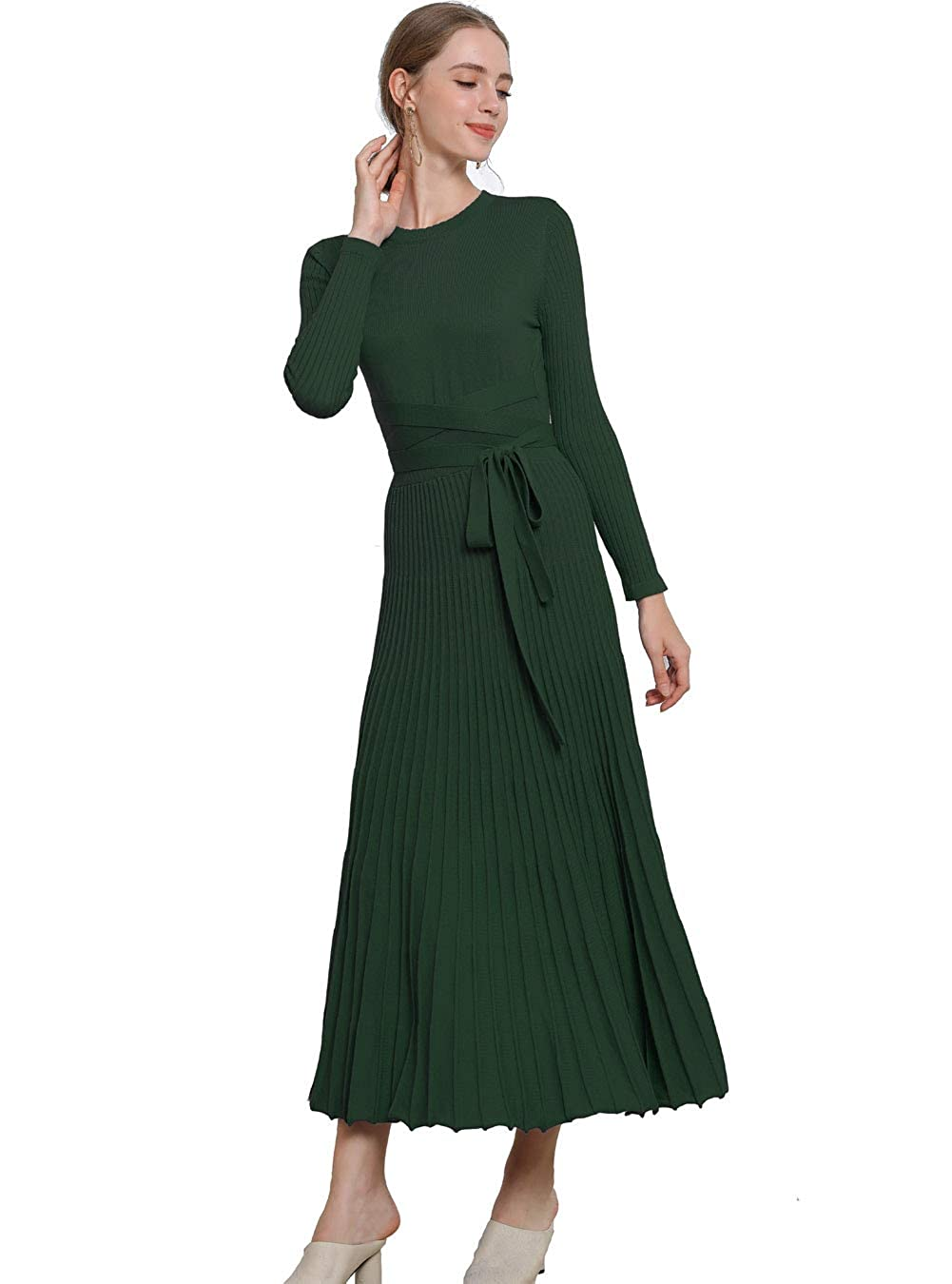 1930s Day Dresses, Afternoon Dresses History FINCATI Long Sweater Dress Spring Autumn Cashmere Belt Fitted Waist Big Swing Midi Dresses $49.00 AT vintagedancer.com