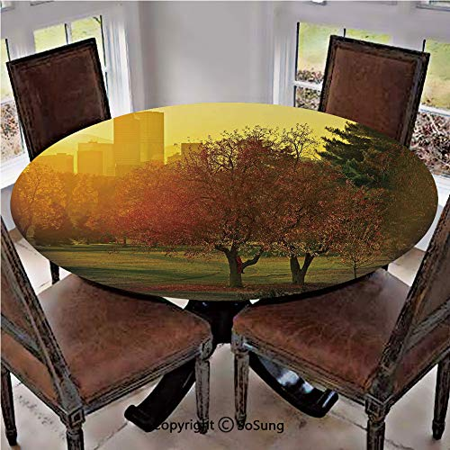 Elastic Edged Polyester Fitted Table Cover,Sunset over the City Park Colorado Skyline Autumn Theme Scenic Picture,Fits up 56