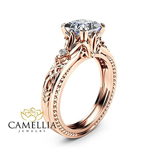 Square Moissanite Engagement Ring 14K Rose Gold Filigree Ring by Camellia-Jewelry
