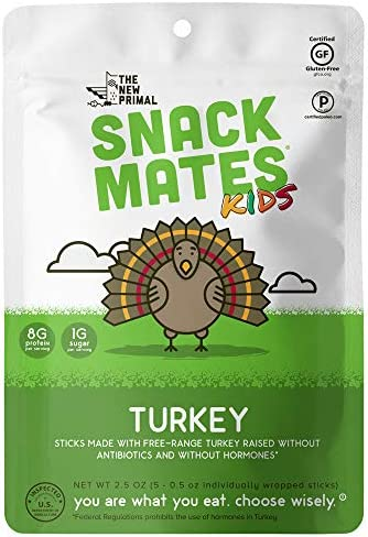 The New Primal, Turkey Sticks Snack Mates Kids 5 Count, 2.5 Ounce