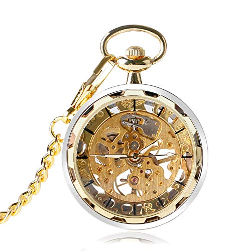 227b2dbae Image Unavailable. Image not available for. Color: Skeleton Hand Wind  Mechanical Pocket Watches | Classic Open Face Transparent Windup ...