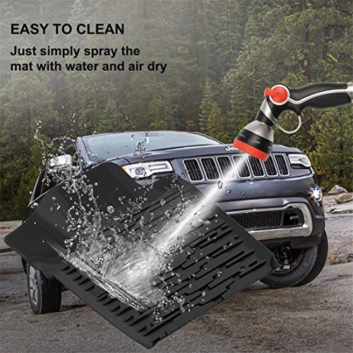 KIWI MASTER Floor Mats & Cargo Liners Set Compatible for 2013-2015 Jeep Grand Cherokee Front & Rear Black Floor Cargo Mat All Weather Protection Slush Mats by KIWI MASTER (Image #5)