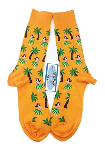 (Aesthetinc Men Hula Girl Tropical Leave Plam Tree Sunrise Sunset Crew Socks (Hula Girl)