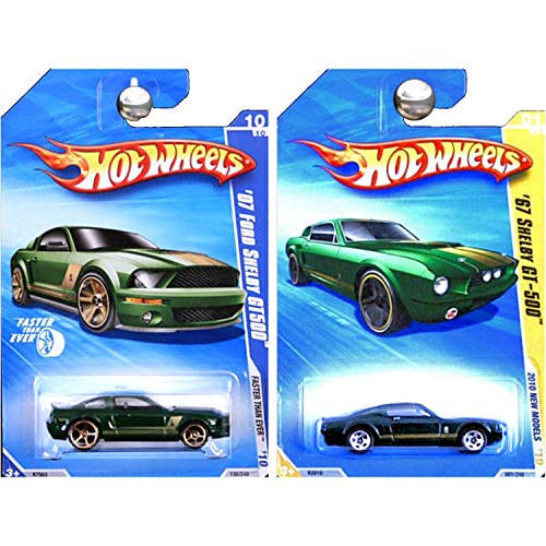 Hot Wheels 2010 FTE and New Models 2007 and 1967 Ford Shelby Mustang GT-500 GT500 Green Gold Set of 2 ()