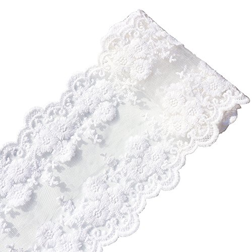 Lace Trim Approx 5'' Wide(125mm) X 2x1yards Cotton Knitting Based on Organza (Color 1 White)