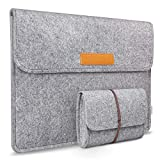 Inateck Laptop Sleeve Case Compatible with 15.4 Inch MacBook Pro Retina/Dell XPS 15 Sleeve, with Small Case for Accessory, Light Gray