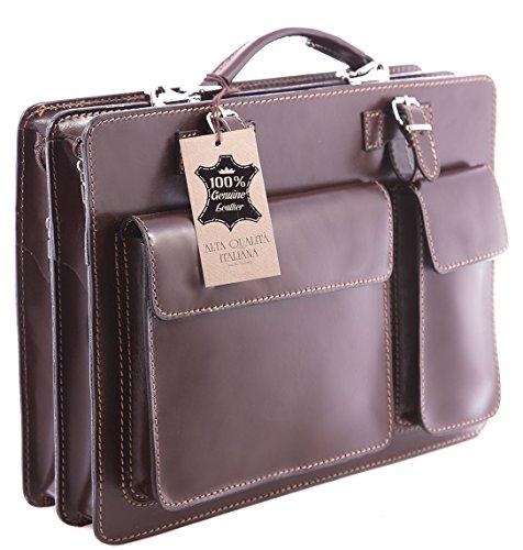 y in Caja Organizador trabajo Hombre Bolsa Documento de Brown italiana Made 100 Dark cuero auténtico Italy xqnt0Xg70