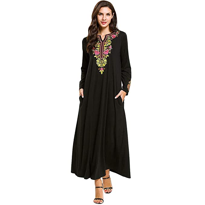 Vestido áRabe De Manga Larga Suelta Bordado MusulmáN De Las Mujeres Islam Jilbab Vestido