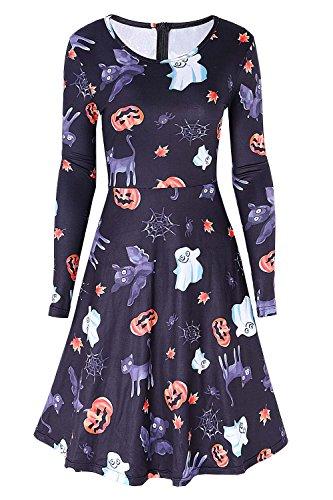 Casuale Del Vestito Zucche Dreagal Lunga Donne Lunghezza Ginocchio Halloween Manica Nuovo Girocollo Fantasmi Di Partito Delle E Cerniera Stampato YgTTqZw