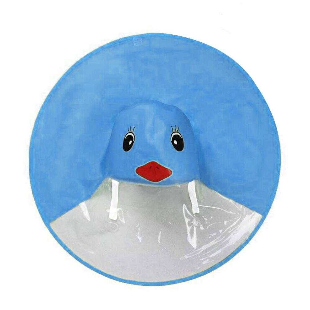 Zolimx Giallo Anatra Ombrello Impermeabile, Cute Pioggia Cappotto UFO Bambini Ombrello Cappello Magico Mani Libere Impermeabile, Poncho Pioggia Imballable