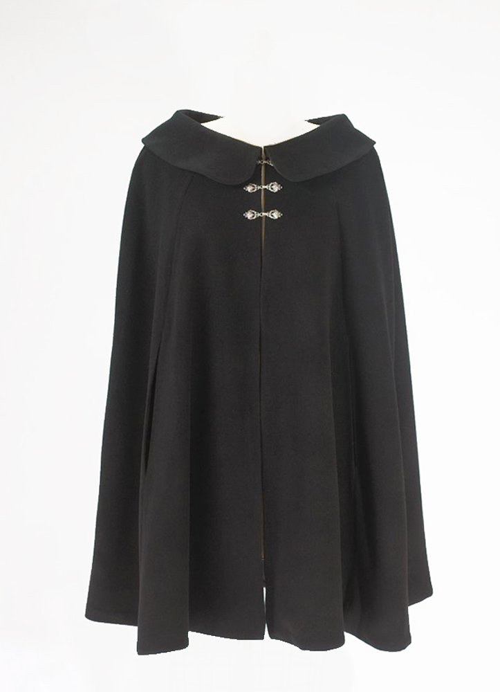 Black Wool Short Cape for Women (Circle Cut M-lg Fit)