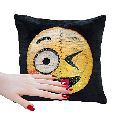 Soft Material,Reversible Sequin Pillow Case,Emoji Throw Cushion Covers for Home Decor Party Sofa Couch Bed Car ,16