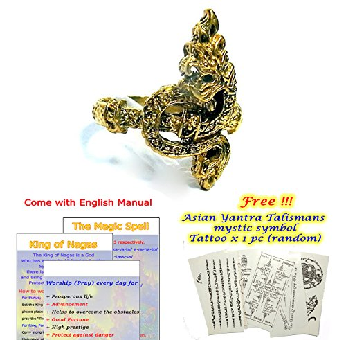 """John The Disciple Costume (King of Naga Ring (Fire Head) Brass Circumference 0.78"""" (Protect Bad Thing & Get Better Fortune): Passed Consecrate from the High Lord Priest)"""