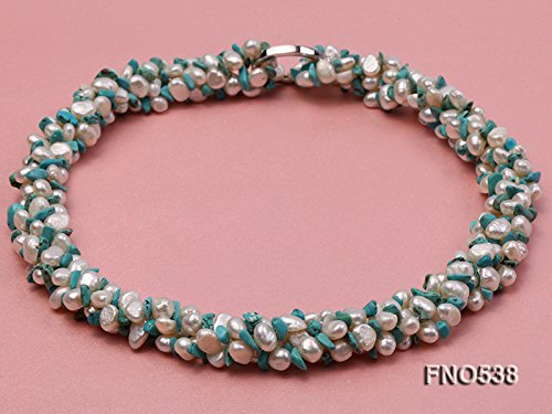 JYX Pearl Triple Strand Necklace 5-6mm Natural White Flat Freshwater Pearl with Turquoise Chips Necklace