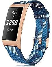 Strap compatibel voor Fitbit Charge 4 armband/Charge 3 armbanden, blauw wit textiel sport band dames heren reservearmband (geen horloge)