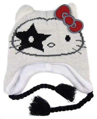Hello Kitty Older Girls Kiss Peruvian Style Fleece Lined Hats Four Styles (White) ()