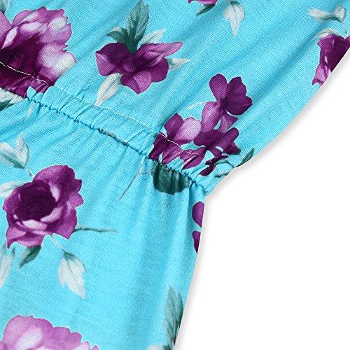 Bleu Clair Fille Chic avec Col Bateau Bb Combinaison Adulte Combishort Bretelles Mre Short Imprim laamei Casuel Floral et ZpgCCa