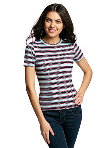 oodji Ultra Mujer Camiseta Ajustada Texturizada Azul (7970S)