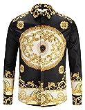 Pizoff Mens Long Sleeve Luxury Gold Floral Print Dress Shirt Y1792-30-L