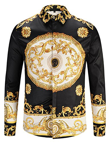 Pizoff Mens Long Sleeve Luxury Gold Floral Print Dress Shirt Y1792-30-L by Pizoff