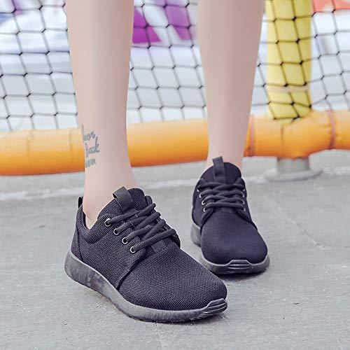 Zapatos Zapatillas Logobeing para Casuales Mujer Negro de Sneakers Cordones Entrenadores de Zapatilla Correr Fitness Deportivas Vuelo fqqUwPd