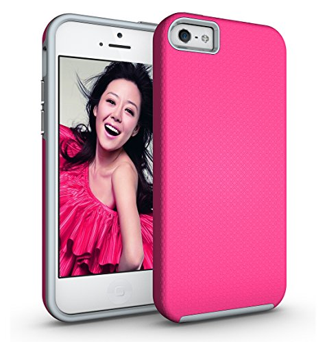 ka tike Compatible for iPhone SE / 5S / 5 Case, Armor Shockproof Absorbing TPU + PC [Dual Layer Protection] Anti-Scratch Hybrid Bumper Series Durable Case Cover for Apple iPhone SE/5S/5 (Hot Pink)