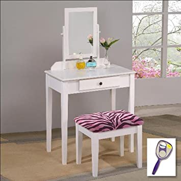 Amazon.com: New White Finish Make Up Vanity Table with Mirror ...