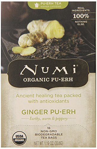 Numi Organic Ginger Pu-erh Tea Bags, Full Leaf Black Pu-erh Tea Blend, 16-Count non-GMO Tea Bags
