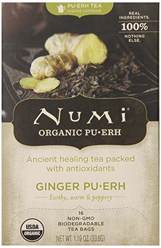 Numi Organic Ginger Pu-erh Tea Bags, Full Leaf Black Pu-erh Tea Blend, 16-Count non-GMO Tea Bags