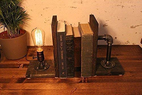 Industrial Steampunk bookend table pipe lamp with Classic Edison bulb and Weathered base