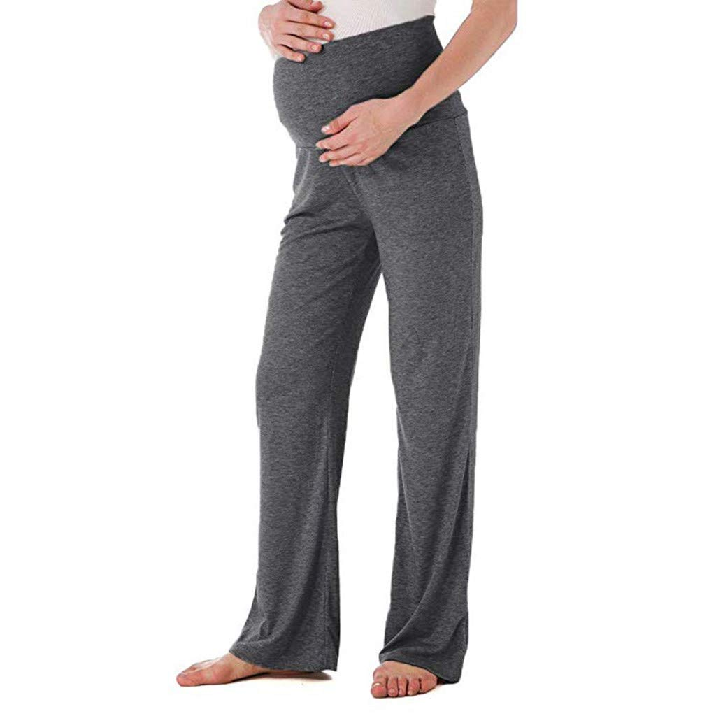 Womens Maternity Pants Wide//Straight Pregnancy Shorts Fold Over Lounge Trousers Comfortable Palazzo Lounge Pants