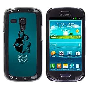 EJOY---Cubierta de la caja de protección la piel dura para el / Samsung Galaxy S3 MINI 8190 / --Familia - Deber - Honor - Skywalke