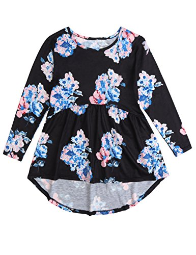 Funnycokid Grils Ruffled Tops Long Sleeve Tunic Tops Tshirt Dress Round Neck High Low Ruffle Top Dresses (Girls Ruffled Tunic)