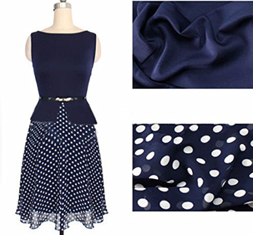 Rondes Robe Sans Manches En Coton Col Femmes Polka Dot Big Swing Robes Minces