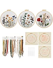 3-Pack Embroidery Starter Kit, Cross Stitch Kits with Easy Pattern and Instructions,Full Range of Stamped Embroidery Kits with 3 Embroidery Clothes with Beautiful Pattern,Color Threads Tools Kit