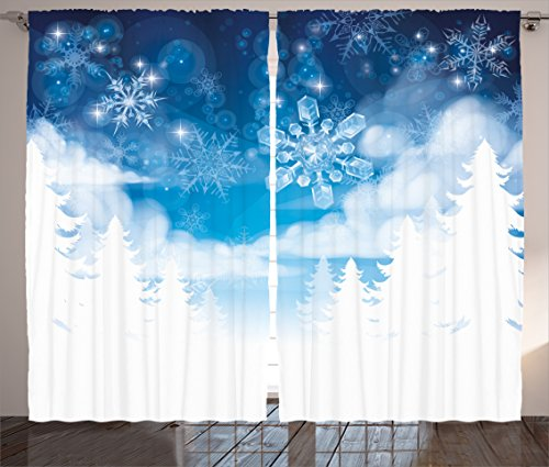 "Ambesonne Winter Curtains, Christmas Trees Setting with Snowflakes and Stars New Year Graphic Image, Living Room Bedroom Window Drapes 2 Panel Set, 108"" X 84"", White Blue"