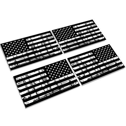 - Creatrill Reflective Tattered Subdued American Flags Decal Matte Black - 2 Pairs 3x5 in. Tactical Military USA Flag Stickers for Cars and Trucks, Hard Hat or Lunch Box