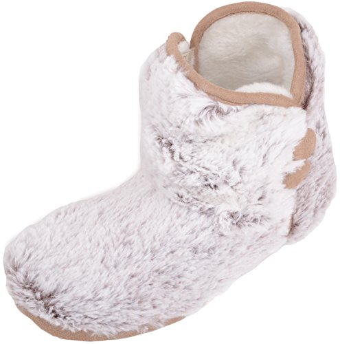 Absolute Footwear Womens Slip On Warm Faux Fur Slipper Bootee/Booties Beige