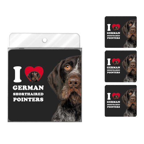 Tree-Free Greetings NC39058 I Heart German Shorthaired Pointers 4-Pack Artful Coaster Set, Brown Close-Up