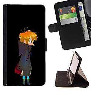 Momo Phone Case / Flip Funda de Cuero Case Cover - Noche Oscura Boy Arte Dibujo errante solitario - Huawei Ascend P8 (Not for P8 Lite)
