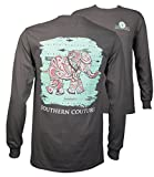 Southern Couture SC Classic Paisley The Elephant on Longsleeve Womens Classic Fit T-Shirt - Charcoal, X-Large