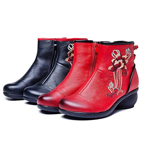 Ricamo Nero Gaslinyuan Gaslinyuan Gaslinyuan di in EU Donna con 37 37 37 Dimensione a Vintage Stivali Fiori Colore Rosso da Pelle Blocchi 0qxUTS0f