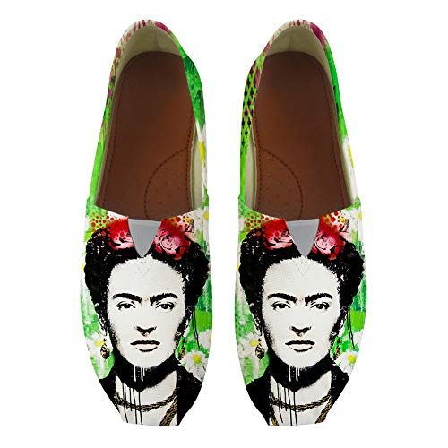 Classic Canvas Slip-On Lightweight Driving Shoes Soft Penny Loafers Men Women Mexican Female Painter Frida Kahlo Artistic Portrait -38 White