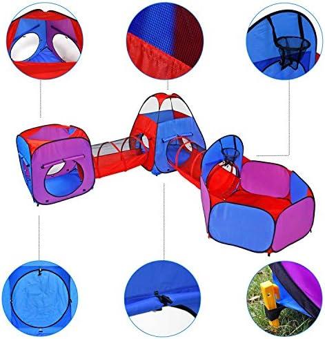 YOOBE Tende da Gioco 5 Pezzi Tende da Gioco Crawl Tunnels e Ball Pit Bounce Tenda da Gioco Playhouse con canestro da Basket per Uso Interno ed Esterno con Custodia