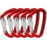 GM CLIMBING Ultra-Light Screw Locking Carabiner CE UIAA Certified Red Pack of 5
