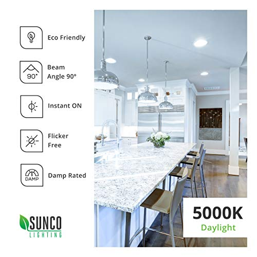 Sunco Lighting 12 Pack 5/6 Inch LED Recessed Downlight, Baffle Trim, Dimmable, 13W=75W, 5000K Daylight, 965 LM, Damp Rated, Simple Retrofit Installation - UL + Energy Star by Sunco Lighting (Image #7)'