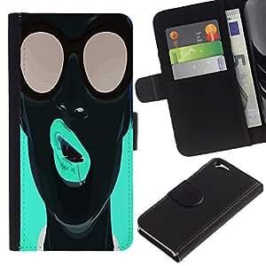 A-type (Enfriar arte pop Neon Girl) Colorida Impresión Funda Cuero Monedero Caja Bolsa Cubierta Caja Piel Card Slots Para Apple (4.7 inches!!!) iPhone 6 / 6S
